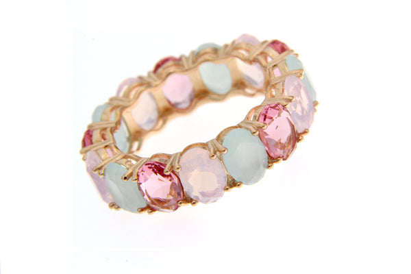 Cubic Zirconia Multi Color Ring With Rose Gold Plating