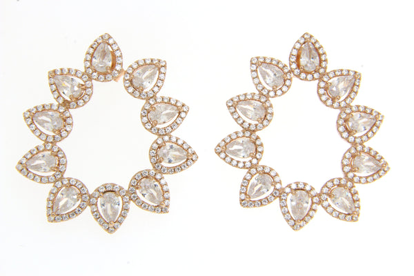 Teardrop Cubic Zirconia Earrings With Rose Gold Plating