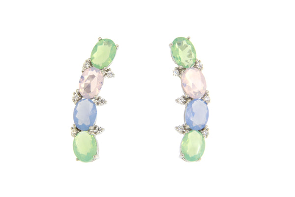 Cubic Zirconia Multi Color Earrings With Silver Plating