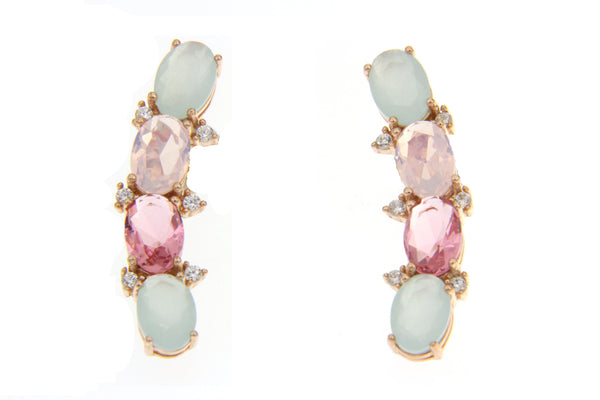 Cubic Zirconia Multi Color Earrings With Rose Gold Plating