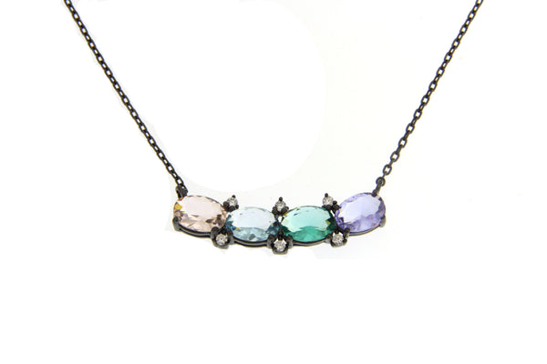 Cubic Zirconia Multi Color Necklace With Black Plating