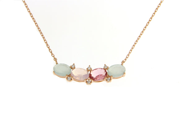 Cubic Zirconia Multi Color Necklace With Rose Gold Plating