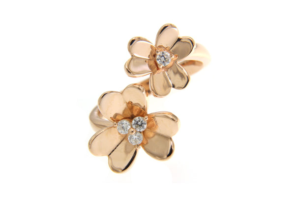 Cubic Zirconia Flowers Ring With Rose Gold Plating