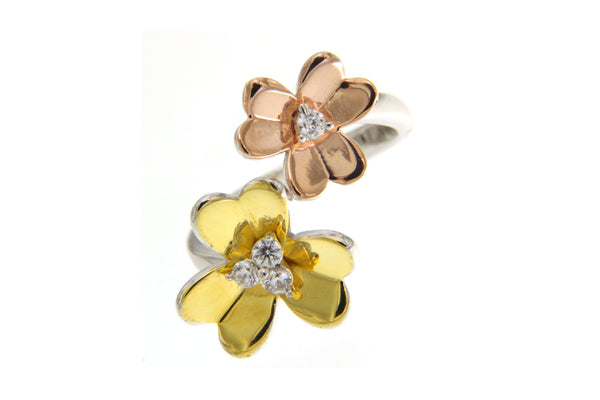 Cubic Zirconia Flowers Ring With Multi Color Plating