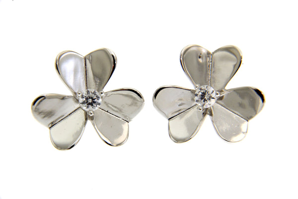 Cubic Zirconia Flower Earrings With Rhodium Plating