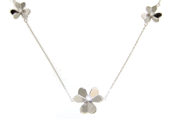 Cubic Zirconia Flowers Necklace