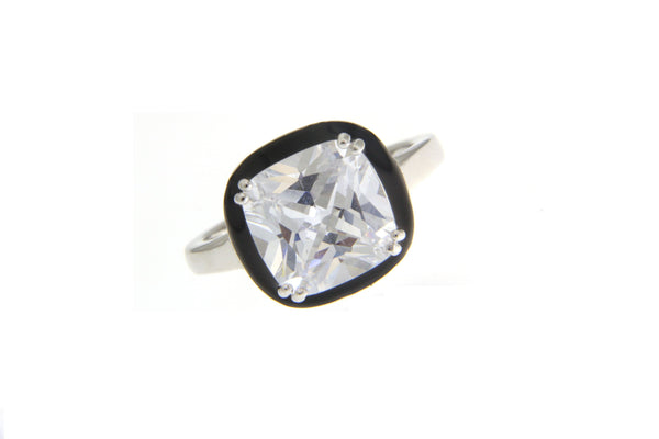 Cubic Zirconia Halo Ring With Black Enamel