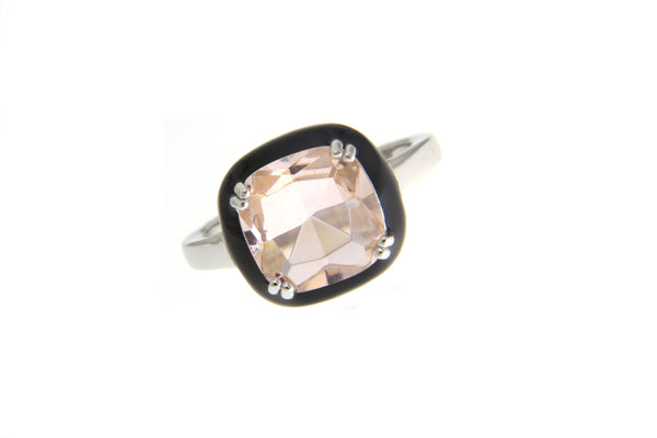 Cubic Zirconia Morganite Halo Ring With Black Enamel