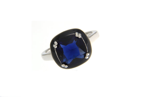 Cubic Zirconia Sapphire Halo Ring With Black Enamel