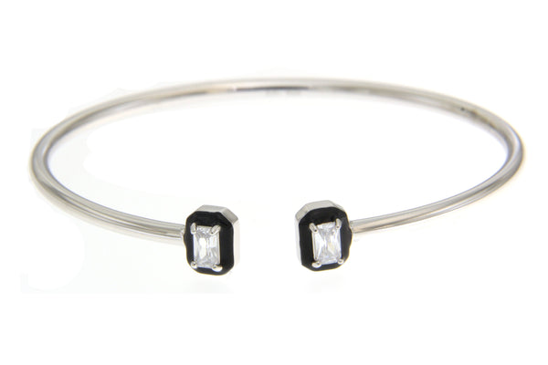 Clear Halo Rectangular Cubic Zirconia Bangle