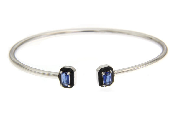Sapphire Halo Rectangular Cubic Zirconia Bangle