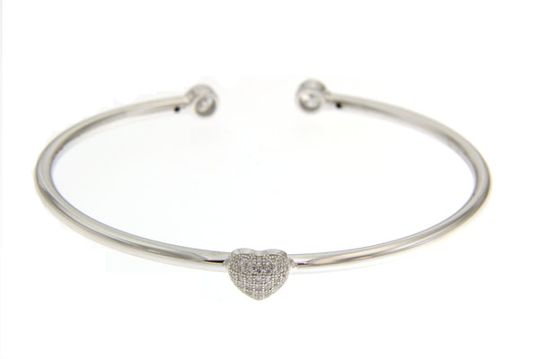Cubic Zirconia Heart Bangle