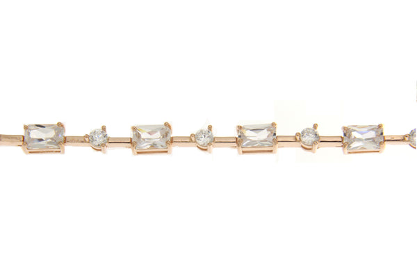 Clear Cubic Zirconia Bracelet With Rose Gold Plating
