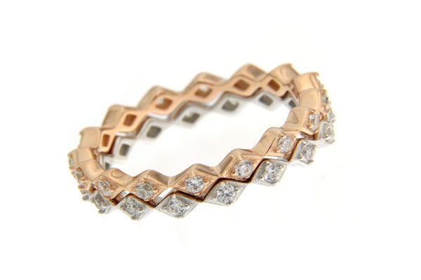 Cubic Zirconia Stackable Rings With Rose Gold And Rhodium Plating