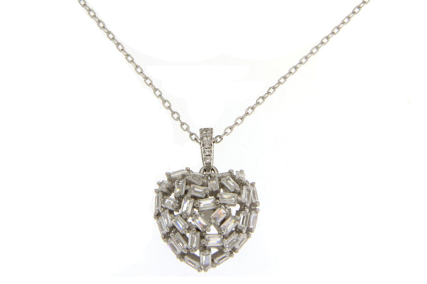 Sterling Silver Baguette Heart CZ Necklace