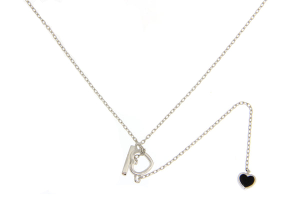 Sterling Silver CZ Heart Necklace With Black and White Shell