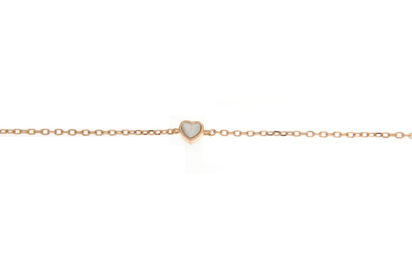 Rose Gold CZ Heart Bracelet With White and Black Shell