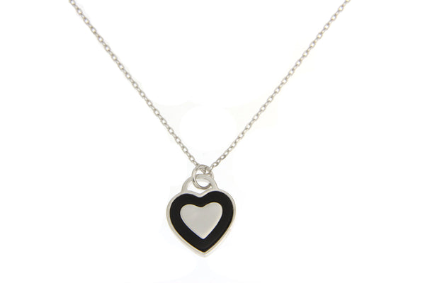 Cubic Zirconia Heart Necklace With Black Shell