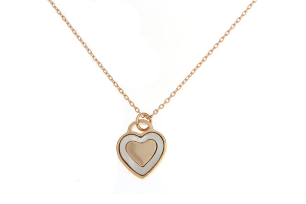 Rose Gold Cubic Zirconia Heart Necklace With White Shell
