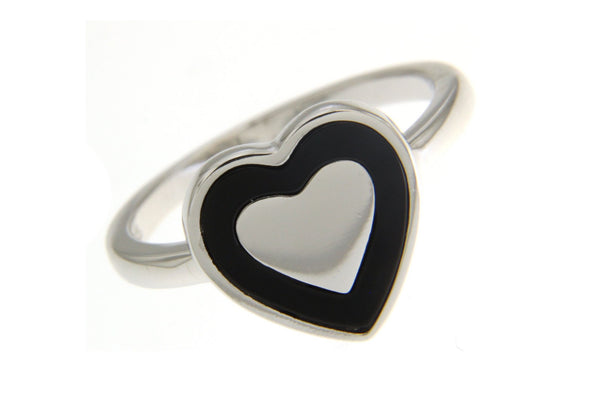 Cubic Zirconia Heart Ring With Black Shell