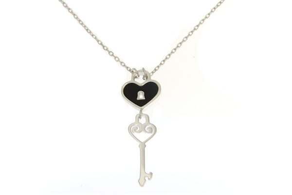 Cubic Zirconia Heart Love Lock Necklace with Black Shell