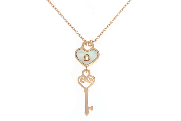 Rose Gold Cubic Zirconia Heart Love Lock Necklace with White Shell