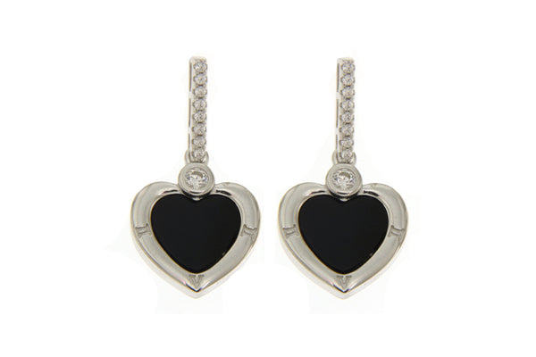 Cubic Zirconia Heart Earrings With Black Shell
