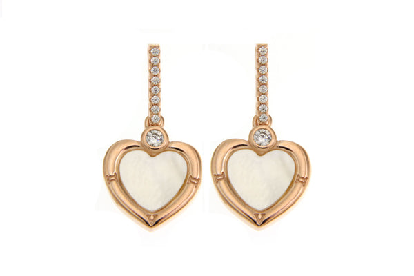 Rose Gold Cubic Zirconia Heart Earrings With White Shell