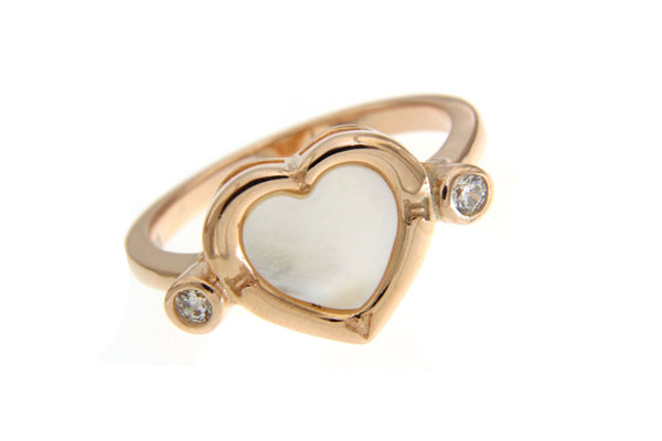 Rose Gold Cubic Zirconia Heart Ring With White Shell