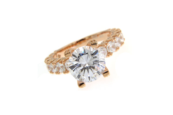 Rose Gold Round CZ Ring