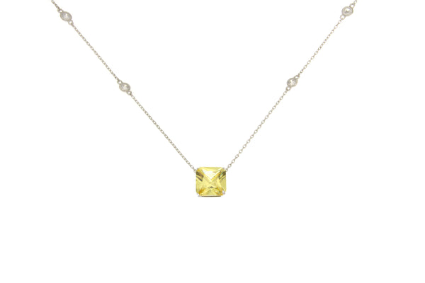 Cubic Zirconia Light Yellow Square Cut Necklace
