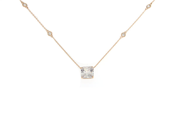 Cubic Zirconia Rose Gold Square Cut Necklace