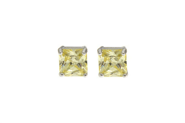 Cubic Zirconia Light Yellow Square Cut Earrings