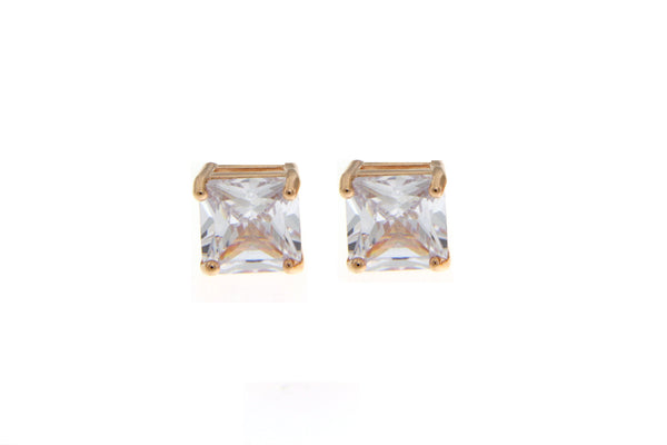 Cubic Zirconia Rose Gold Square Cut Earrings