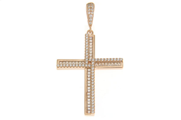 Cubic Zirconia Rose Gold Baguette Cross Pendant