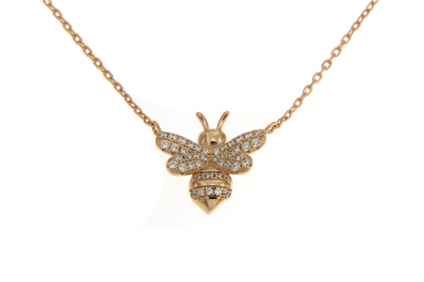 Cubic Zirconia Rose Gold Bumble Bee Necklace