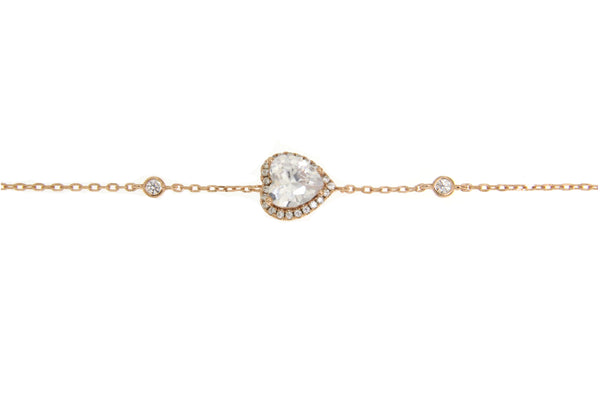 Rose Gold Cubic Zirconia Heart Bracelet