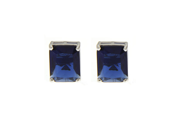 Cubic Zirconia Sapphire Rectangle Cut Earrings