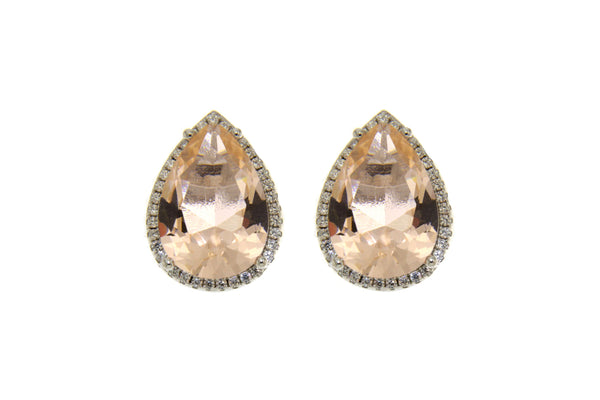 Morganite Teardrop Cubic Zirconia Earrings