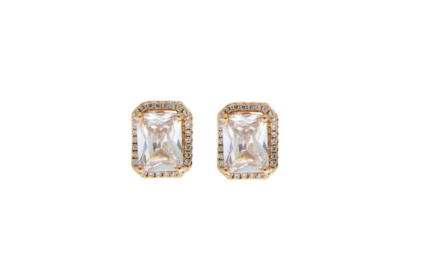 Clear Cubic Zirconia Halo Stud Earrings With Rose Gold Plating