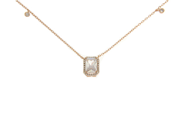 Clear Cubic Zirconia Halo Necklace With Rose Gold Plating