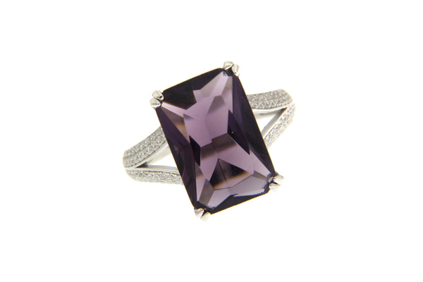 Amethyst Cubic Zirconia Rectangle Cut Ring