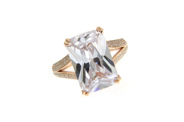 Rose Gold Cubic Zirconia Rectangle Cut Ring