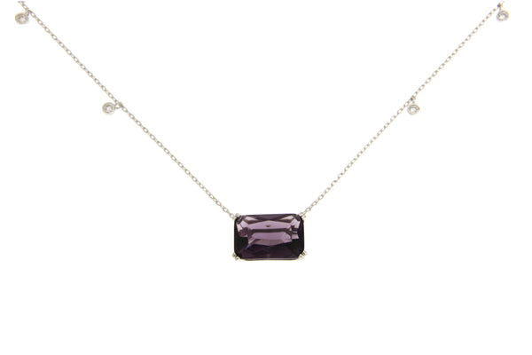 Amethyst Cubic Zirconia Rectangle Cut Necklace