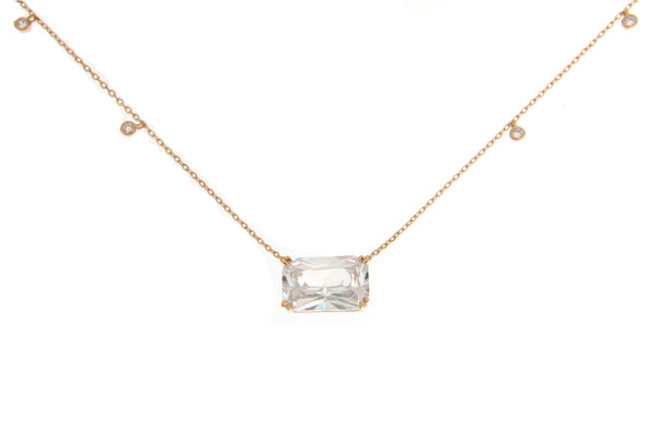 Clear Cubic Zirconia Rose Gold Rectangle Cut Necklace