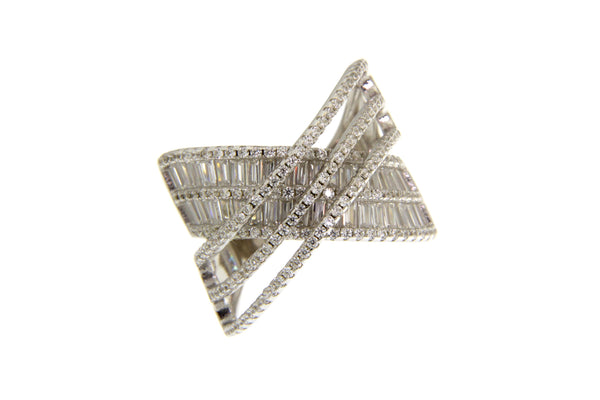 Baguette and Round Cubic Zirconia Crisscross Ring