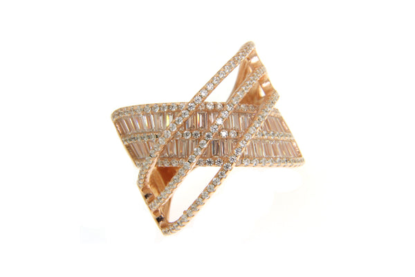 Baguette and Round Rose Gold Cubic Zirconia Crisscross Ring