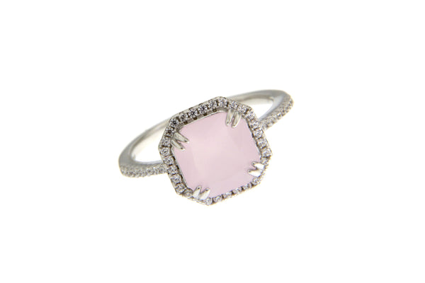 Milky Pink Cubic Zirconia Halo Ring