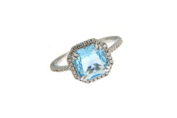 Sky Blue Cubic Zirconia Halo Ring