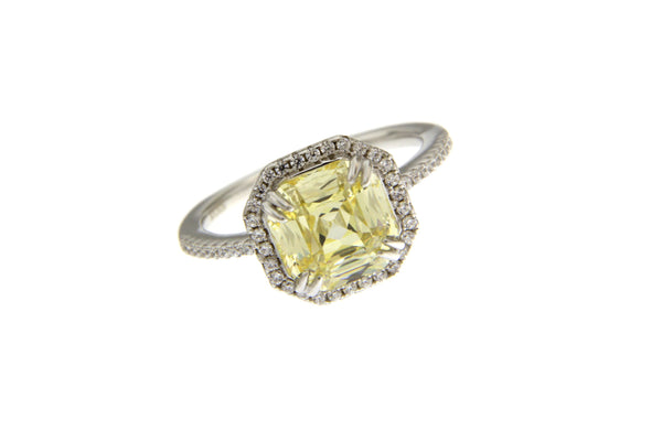 Light Yellow Cubic Zirconia Halo Ring